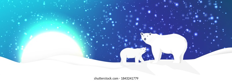 Polar bears and northen lights landscape vector