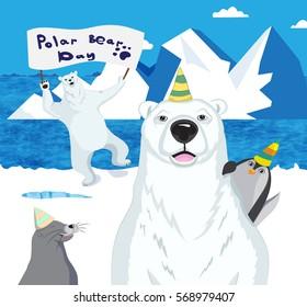 Polar bears, a penguin and a seal celebrate Polar bear day.Vector illustration.