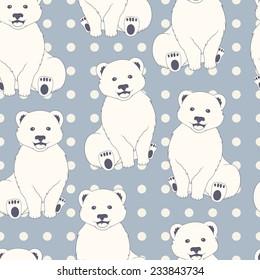 Polar bears seamless pattern. Blue polka dot background for kids