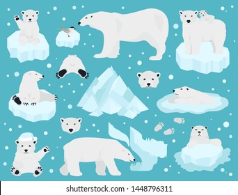Polar bears set, teddy bear in Arctic. Vector illustration