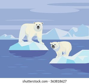 Polar bears. Vector flat illustration