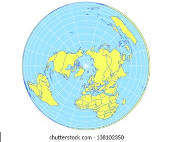 Polar centered vector world map in Albers Equal Area projection. EPS10 file with every country as selectable path.