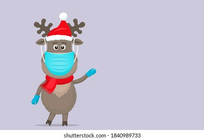 polar deer in a Santa Claus hat in a medical mask and surgical gloves. Covid 19 prevention concept. Stay home. flat vector illustration isolate