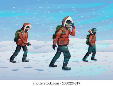 Polar explorers in red jackets marching on the snow in windy weather. Three men walking through the snowstorm. Vector illustration. Flat style. Horizontal.