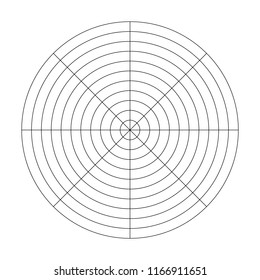 Polar grid of 10 concentric circles and 45 degrees steps. Blank vector polar graph paper.