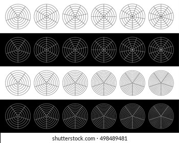 Polar grids, graphs with ascending pies / circles