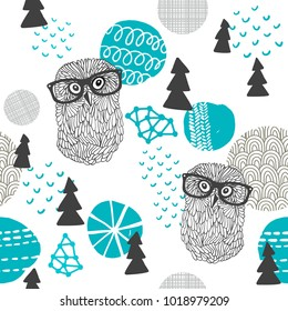 Polar owl seamless pattern. Vector background of scandinavian winter in the forest.