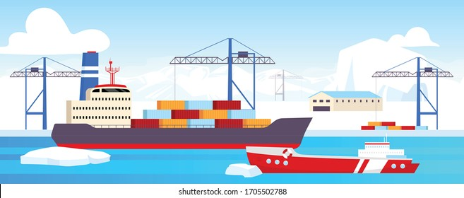 Polar shipyard flat color vector illustration. Industrial container yard at North Pole 2D cartoon landscape with glaciers on background. Arctic shipping center. Icebreaker docked at sea port