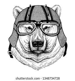 Polar white bear wearing a motorcycle, aero helmet. Hand drawn image for tattoo, t-shirt, emblem, badge, logo, patch.