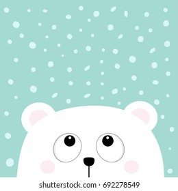 Polar white little small bear cub head face looking up to snow flake. Big eyes. Cute cartoon baby character. Arctic animal collection. Flat design Winter blue background Isolated. Vector