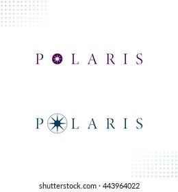 Polaris Logo with Authentic Star Symbols - Dark Turquoise and Dark Purple Letters and Objects on White Background with Star Symbol Decor Elements - Flat Contrast Graphic Illustration