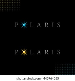 Polaris Logo with Authentic Star Symbols - Light Grey Letters with Colored Yellow and Blue Relief Glossy Objects on Black Background with Star Symbol Decor Elements - Gradient and Flat Mixed Graphic