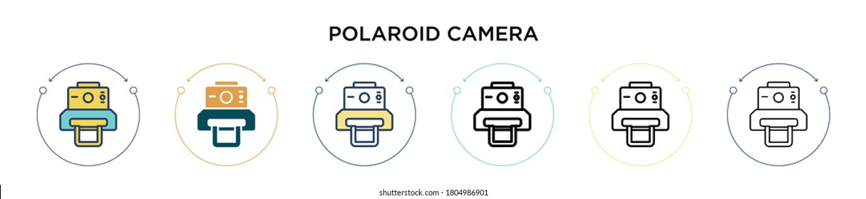 Polaroid camera icon in filled, thin line, outline and stroke style. Vector illustration of two colored and black polaroid camera vector icons designs can be used for mobile, ui, web