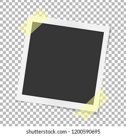 Polaroid photo frame. Realistic vector photo frame on sticky tape. Template polaroid photo design. Vector illustration