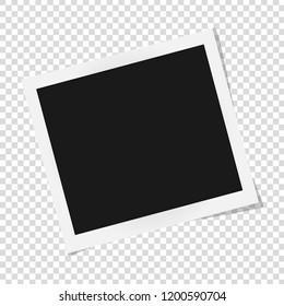Polaroid photo frame. Square frame template with shadows isolated on transparent background. Vector illustration
