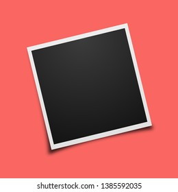 polaroid photo frame with trendy color 2019. Living coral vector background.