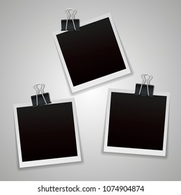 Polaroid Photo frame. White plastic border on a transparent background. Vector illustration