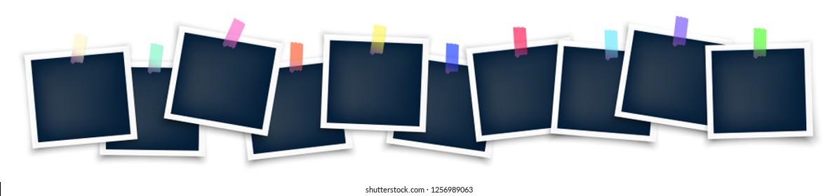 Polaroid photo frames big set mockup glued with color tape . Realistic empty templates.