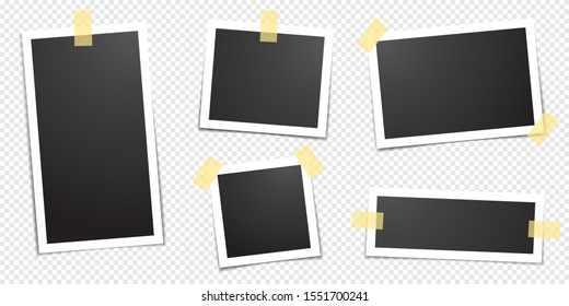 Polaroid photo frames fixed with adhesive tape on a transparent background. Photo frame on sticky tape, isolated.