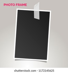 Polaroid photo frames on a gray background