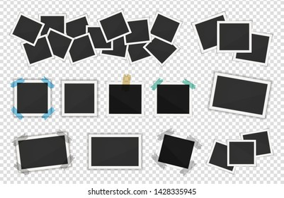 Polaroid photo frames pack. Square frame template with shadows isolated on transparent background. Vector illustration