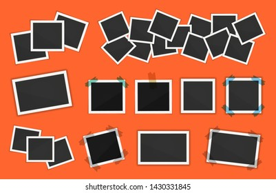 Polaroid photo frames pack. Square polaroid frame template with shadows isolated on orange background. Vector polaroid illustration