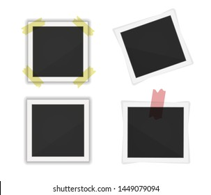 Polaroid photo frames pack. Square frame template with shadows isolated on white background. vector illustration