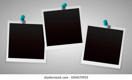Polaroid Photo Frames with Pin Isolated on background. Polaroid Vector EPS 10.