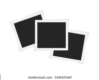 Polaroid photo frames. Square polaroid frame template with shadows isolated on white background. Vector illustration