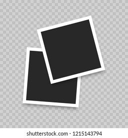 Polaroid Realistic photo frame isolated on transparent background. Vector illustration.