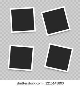 Polaroid Realistic photo frame isolated on transparent background. Vector illustration.