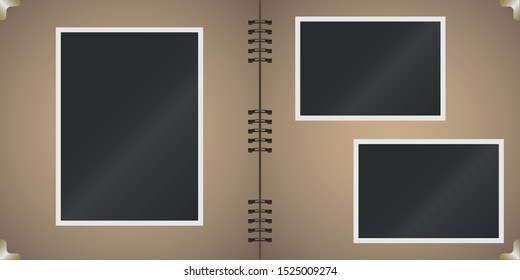 Polaroid. Set of blank photo frames. Photo album pages with polaroids frames. Craft paper. Vector illustration.