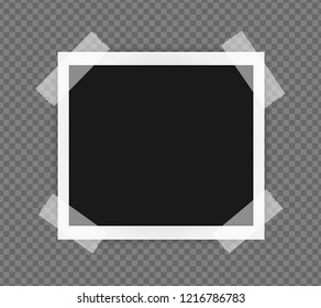Polaroid square frame template on sticky tape with shadows isolated on transparent background. Vector illustration