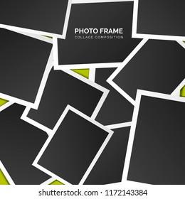 Polaroid square photo frames on a bright background