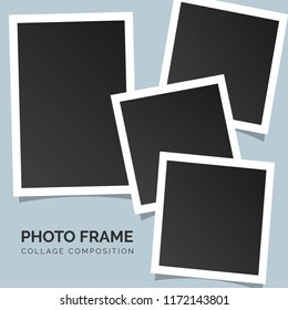 Polaroid square photo frames on a bright background