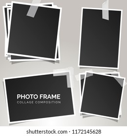 Polaroid square photo frames on a gray background