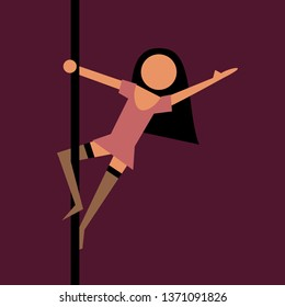 Pole dance - beautiful and attractive woman in miniskirt is doing sexy and erotic dance in nightclub. Vector illustration