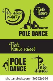 Pole dance logo set