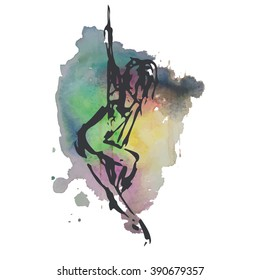 Pole dance on watercolor background