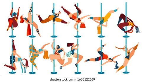 Pole dance people, body positive women cartoon characters isolated on white, vector illustration. Cheerful girls in different poses dancing on pole. Female dancers, flexibility exercise gymnastics set