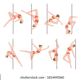 Pole dance performer female cartoon characters set, flat vector illustration isolated on white background. Pole dance as choreography art and fitness activity.