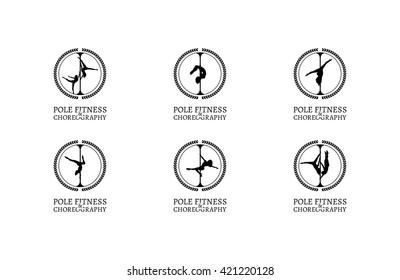 Pole Dance School Logo or Badge. Corporate Identity for Pole Dance School.