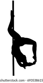 Pole dance woman on a TRANSPARENT background vector