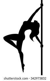 Pole dance. Woman. Vector illustration
