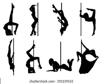 Pole dance women silhouettes. EPS 10 format.