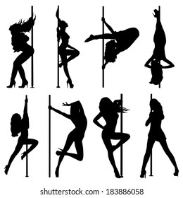 Pole dance women silhouettes. EPS10 format.
