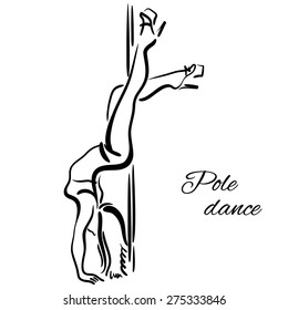Pole dancer with long hair hanging on the pole upside down on the white background.