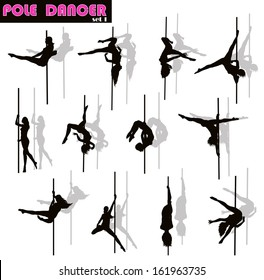 Pole dancer woman vector silhouettes set. Separate layers