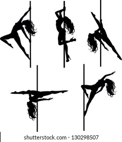Pole dancers silhouettes. The vector illustration of five pole dancers silhouettes in different positions.