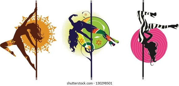 Pole dancers. The vector illustration of three pole dancers silhouettes in different styles.